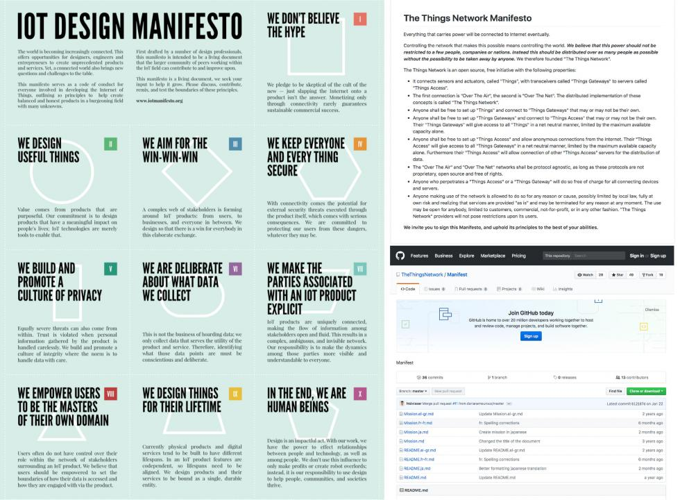 """On the left the""""IoT Design Manifesto"""" on the right """"The ThingsNetwork Manifesto"""""""