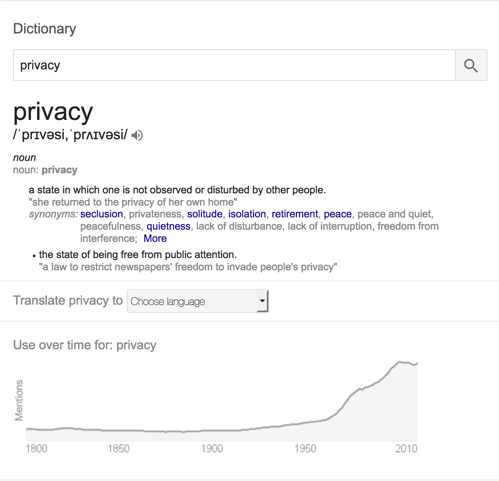 Privacy on google search